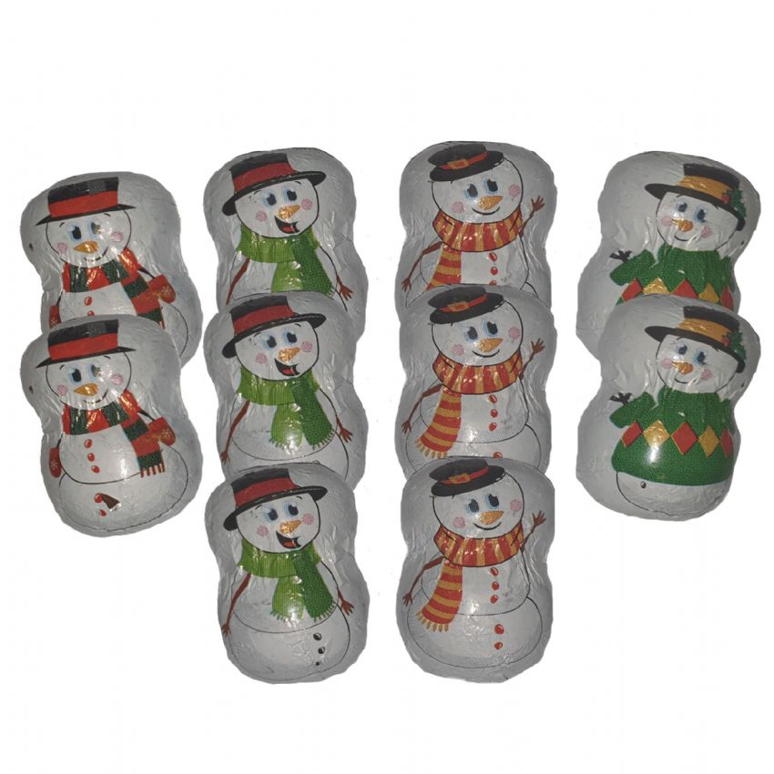 Luxury Christmas Snowmen Figures - Milk Chocolate Gianduja Cream La Suissa Italian Gift Bag 100g